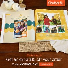 Enjoy $10 off your order of $20 or more with code YAY4HOLIDAY. Offer ends 11/6. Offer is good for $10 off one qualifying merchandise order of $20 or more (after any other discounts and before taxes, shipping and handling) at shutterfly.com.