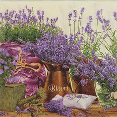 4 Paper Napkin  Blooming Lavender Decoupage Servietten Tovaglioli Tissue 33 cm. #IHR