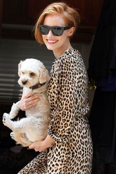 Jessica Chastain in leopard print with her adorable dog Chaplin