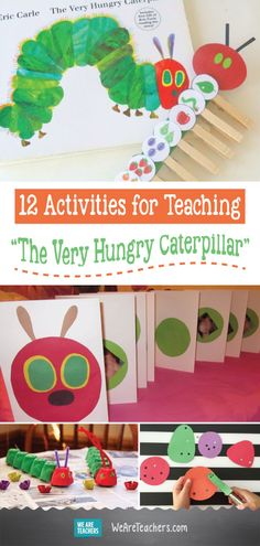 """12 Activities for Teaching """"The Very Hungry Caterpillar"""". From growing a grassy caterpillar to crafting a paper plate caterpillar, your young students will love these The Very Hungry Caterpillar activities. Hungry Caterpillar Classroom, Caterpillar Art, The Very Hungry Caterpillar Activities, Hungry Caterpillar Craft, Spring Activities, Preschool Activities, Preschool Kindergarten, Book Activities, Kindergarten Readiness"""