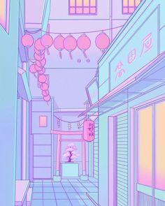 A typical street to gaze at Cute Pastel Wallpaper, Kawaii Wallpaper, Cartoon Wallpaper, Aesthetic Desktop Wallpaper, Anime Scenery Wallpaper, Pink Aesthetic, Aesthetic Anime, 8bit Art, Vaporwave Art
