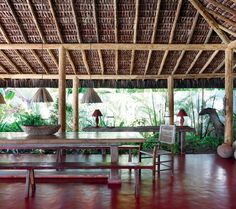 Bungalows, Cabana, Bamboo House Design, Patio Grande, Bamboo Architecture, Exterior Paint Colors For House, Natural Building, Tropical Houses, Coastal Living