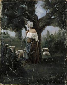 Aukusti Uotila (1858-1886), Shepherdess and Sheep,1879, Paris, oil on canvas, Valtion taidemuseo