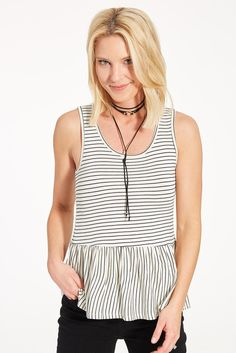 Cora Stripe Peplum IVORY/BLACK-size small Love the fit of this top-fun detail w/the peplum