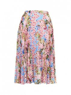 Topshop Floral Pleat Midi Skirt ($90) in Multi