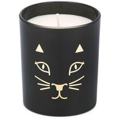 Charlotte Olympia Kitty Candle ($75) ❤ liked on Polyvore featuring home, home decor, candles & candleholders, fillers, candles, black, cat candle, cat home decor, black home decor and patchouli candle
