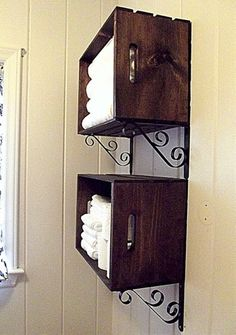DIY: Pretty Crate Wall Storage. So simple. - Click image to find more DIY & Crafts Pinterest pins