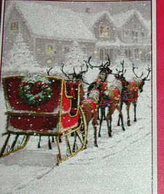 18 Christmas Cards Santas Victorian Sleigh Reindeer in Snow Farm House Glitter | eBay
