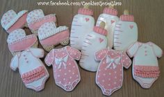 baby girl cookies, baby shower cookies, baby carriage cookies, pink and white onesie