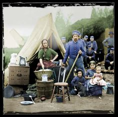 """""""Tent Life, Washington, DC"""" photographer unknown. From The Civil War in Color, courtesy of John Guntelman. US National Archives"""