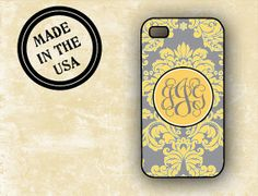 $17. Tough Future Iphone, Cover Gray, Grey Yellow, Iphone 4, Damask, Wedding Colors, Initials, Phone Cases, How To Make