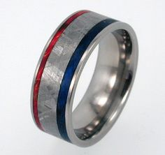 Titanium Ring With Box Elder Burl Wood And Gibeon Meteorite Inlay, Red, White…