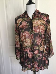 CAbi 100% Silk Blouse M #400 Sheer Brown Floral 3/4 Sleeves in Clothing, Shoes & Accessories, Women's Clothing, Tops & Blouses | eBay