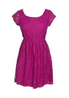 All Over Lace Cap Sleeve Dress from Delias. #fuchsiabridesmaid #weddingstyle