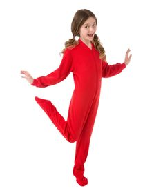 Big Feet Pjs Red Fleece Footed Pajamas - Girls 6969d9d95