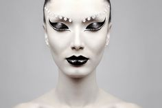 Dramatic beauty look with remarkable contrast and crystal eyebrows by Primo Tacca Neto  (One of the most intriguing pictures for me ~ driving me crazy that there isn't another one with her eyes open =o)