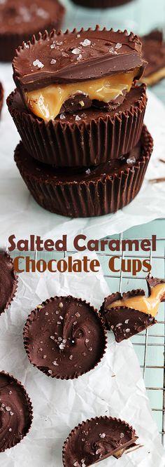 Salted Caramel Chocolate Cups Salted Caramel Chocolate, Chocolate Cups, Chocolate Treats, Chocolate Recipes, Chocolate Covered, Candy Recipes, Baking Recipes, Cookie Recipes, Dessert Recipes