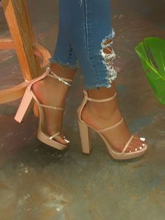 Women Heels Aesthetic Business Casual Shoes For Women Clear Tie Up Hee – muskmelontal Cute Shoes Heels, Tie Up Heels, Fancy Shoes, Slip On Shoes, High Heels, Lifting Shoes, Black Lace Up Heels, Business Casual Shoes, Aesthetic Shoes