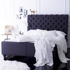 "Black Upholstered Bed W/ Gorgeous White Cotton , Quilted &  "" Lace Like "" Bed Linens . Simply Stunning <3"