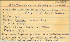Charlotte's Chicken, Tuna, or Turkey Casserole