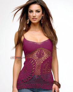 Outstanding Crochet: Crochet shoulder-strap tops. Pattern. outstandingcrochet.blogspot...