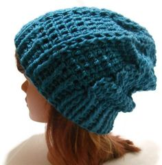 Crochet Cabled Slouchy Beanie Hat in Peacock by AddSomeStitches, #etsy #crochet #dteam