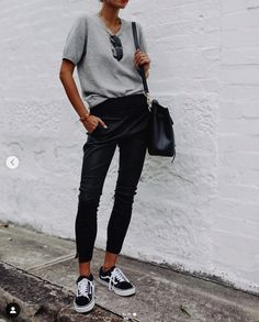 An elevated basic – our stretch leather jogger pants - Women's Fashion Leather Jogger Pants, Jogger Pants Outfit, Black Joggers Outfit, Women Joggers Outfit, Jogger Pants Style, Black Jogger Pants, Grey Outfit, Women Pants, Black Skinnies