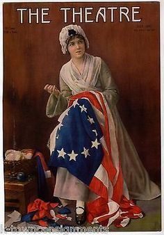 LOLA FISHER BETSY ROSS PLAY MOVIE ACTRESS ANTIQUE GRAPHIC MAGAZINE COVER PRINT