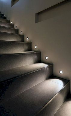 Today's emphasis? The stairs! Here are 26 inspiring ideas for decorating your stairs tag: Painted Staircase Ideas, Light for Stairways, interior stairway lighting ideas, staircase wall lighting. Staircase Lighting Ideas, Stairway Lighting, Strip Lighting, Pathway Lighting, Landscape Lighting, Home Stairs Design, Home Interior Design, House Design, Interior Stairs