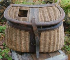 Antique fishing creel basket...this would make an amazing card basket for the wedding!!