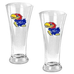 Kansas Jayhawks KU Set of Two Pilsner Beer Glasses
