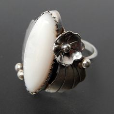 Mother of Pearl Shell Marquise Ring 925 Sterling Silver Size 5.5 7.5 9.5