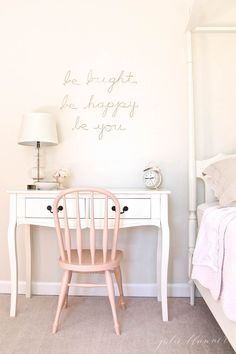 sweet little girl's bedroom ideas and a pretty desk / side table