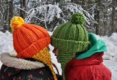 all this for them: Knitted Sibling Winter Hats - quick and cute!