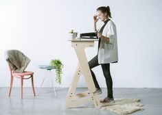 Beautifully designed standing desk that is locally produced with high quality wood. This standup desk is perfect for at home or in your office Youth Desk, Stand Up Desk, Adjustable Height Desk, Laptop Desk, Ikea Furniture, Office Furniture, Best Interior Design, Interior Exterior, Standing Desks
