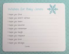 Blue Glitter Snowflake Baby Shower First Birthday Wishes Advice Cards    This listing is for a set of 10. When ordering choose - Quantity 1 = 10