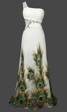 Fashion One Shoulder Rhinestone Peacock Evening Dress
