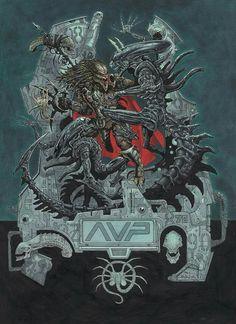 #predator #art #aliens #avp by PaulDavidson Alien Vs Predator 2004, Predator Figure, Predator Movie, Predator Alien, Predator Cosplay, Fallout Art, Alien Queen, Alien Concept Art, Aliens Movie