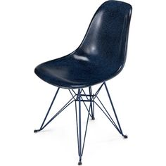 Modernica Eiffel Side Shell Chair Indigo Powder Coated Frame ($325) ❤ liked on Polyvore featuring home, furniture, chairs, blue, blue furniture, modernica chairs, spring chair, modernica shell chair and fiberglass shell chair