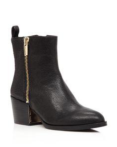 VINCE CAMUTO Imala Double Zip Mid Heel Booties | Bloomingdale's