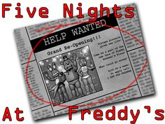Brand New T-shirt Five Nights at Freddy's FNAF Newspaper Ad