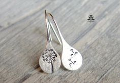 925 Sterling Silver earrings - hand stamped dandelions