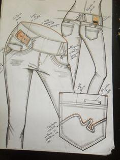 desenho de calça fem  inverno 2014: Jeans Pants, Denim Jeans, Denim Art, Fashion Portfolio, Fashion Sketches, Overall Shorts, Menswear, Fashion Design, Women