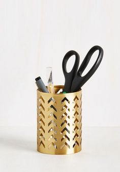 High and Tidy Desk Organizer - Gold, Solid, Work, Good, Cutout, Dorm Decor, Luxe, Spring, Summer, Fall, Winter