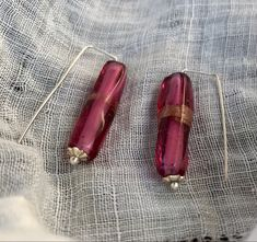 Pink & Gold Glass Beads and Rectangular Ear Wires. Glass Earrings, Glass Beads, Gold Glass, Pink And Gold, Jewelry, Jewlery, Jewerly, Schmuck, Jewels