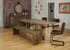 Bohemia Dining Table 4 Chairs And Bench £1299 http://www.cookesfurniture.co.uk/