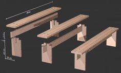 Skizze unserer stabilen Holzbank der zweiten Generation