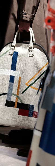The St Ives bag in hand-painted leather backstage at the Burberry Menswear A/W14 show
