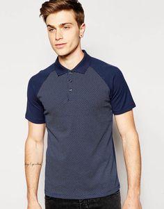 Jack & Jones Polo Shirt with All Over Print & Contrast Raglan Sleeves