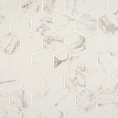 MSI Carrara Hexagon 12 in. x 12 in. x 10 mm Glazed Porcelain Mesh-Mounted Mosaic Tile sq. / – The Home Depot – Tile Hexagon Tile Backsplash, Hexagon Mosaic Tile, Hex Tile, Marble Mosaic, Stone Mosaic, Mosaic Glass, Tile Mosaics, Carrara Marble, Marble Floor